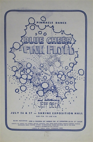 Pink Floyd And Blue Cheer And Jeff Beck Original Concert Handbill Shrine Exhibition Hall Handbill