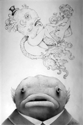 Travis Louie Wendel Dreams Of Mermaids Original Graphite
