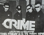 Crime With The Vktms And Situations Original Punk Concert Poster
