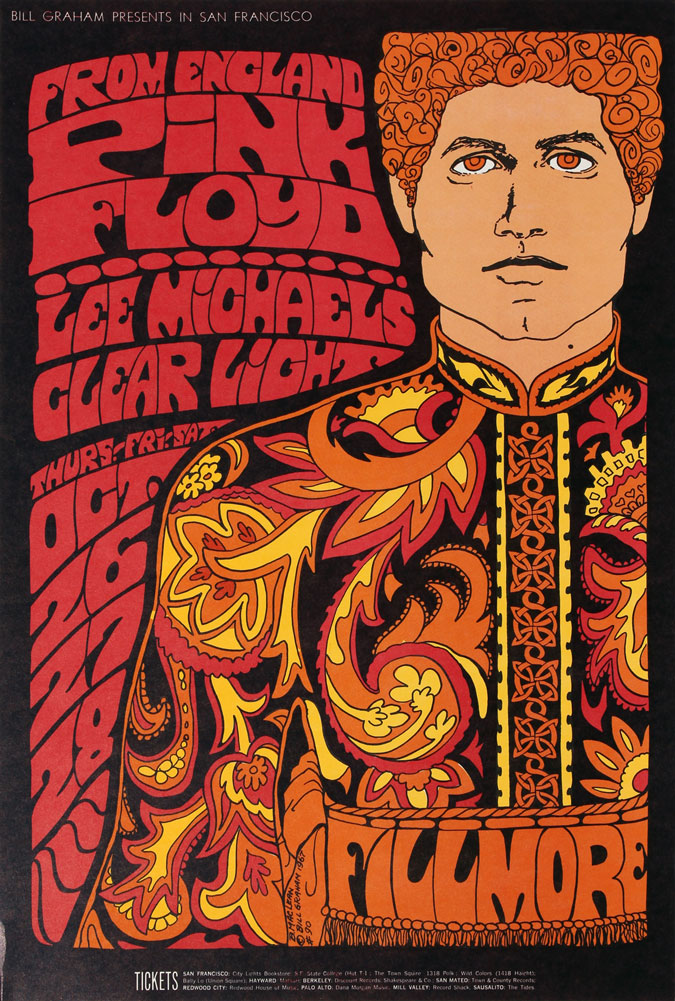 Pink Floyd Original Concert Poster Vintage Rock Fillmore Auditorium