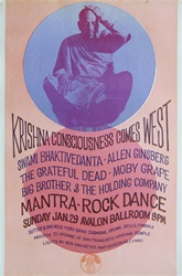 Krishna Consiousness Comes West Original Concert Poster