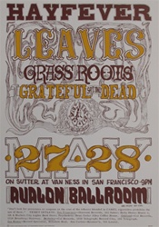 Hayfever Grateful Dead and The Grass Roots Original Concert Poster