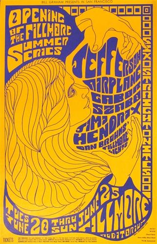 Jefferson Airplane And Jimi Hendrix Original Concert Poster