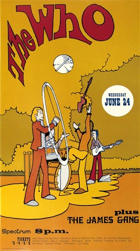 The Who And James Gang Reprint Concert Poster Vintage Rock Spectrum