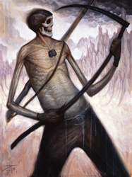Chet Zar Death Playing Air Guitar on a Scythe Original Painting