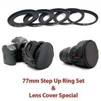 77mm Step Up Ring Set with Lens Cover and Caps Tagged