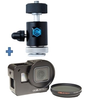 LumeCube LC-HS11-Cage : CAMERA MOUNT w/ 360º BALL HEAD & LIGHT STAND ADAPTER, GENUS GOPRO CAGE & FILTER