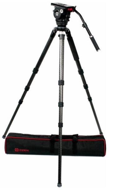 OZ-10CF3 : OZEN 100CF3 100mm Carbon Fiber Tripod & Agile 10 Fluid Head System (E-Z-Load)