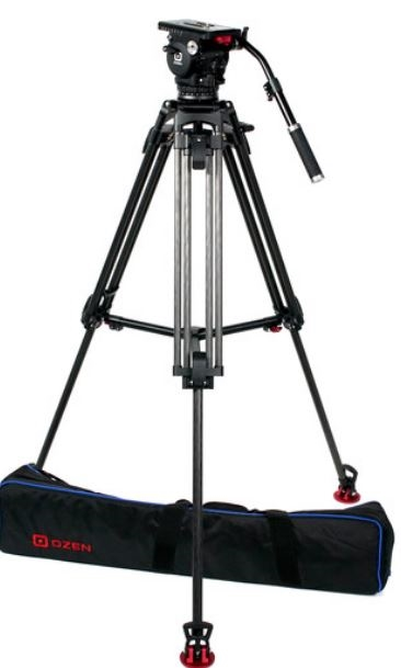 OZ-15CF2: OZEN 100CF2 100mm Carbon Fiber Tripod & Agile 15 Fluid Head System (E-Z-Load)