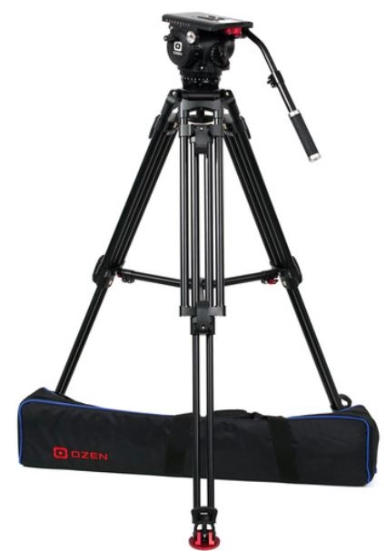OZ-18AL2HD : OZEN 100AL2HD 100mm Aluminum Tripod & Agile 18 Fluid Head System (E-Z-Load)