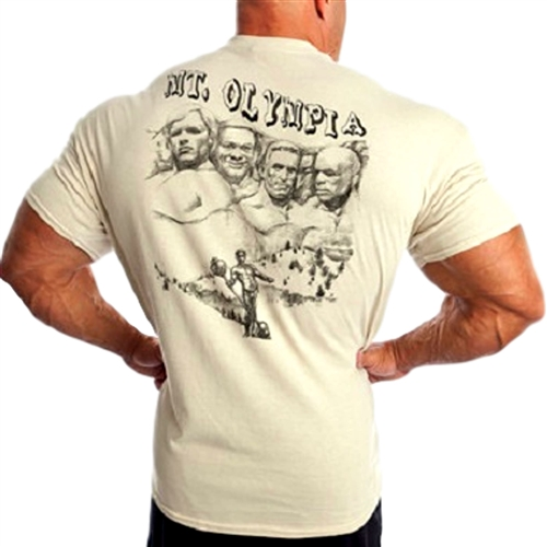 Camp Muscle Mt Olympia T-shirt! A tribute to the 4 all-time top winners of the Mr. Olympia title. Arnold, Lee, Dorian, and Ronnie.