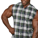 Sleeveless Baseball Flannel Muscle Shirt