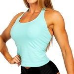 Our Junior's Halter Sports Bra has a front shelf bra for support made in a soft, cotton/lycra blend and is sized smaller for Juniors.