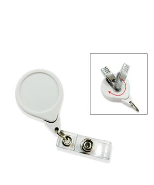 teardrop-shaped badge reels with retractable clips and clear vinyl straps