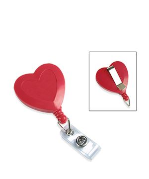 heart badge reels with belt clips and clear vinyl straps