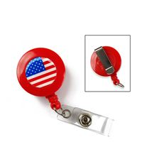 Flag badge reel | American flag badge reel with vinyl strap and belt clip