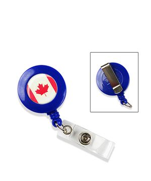 Flag badge reel | Canadian flag badge reel with vinyl strap and holster belt clip