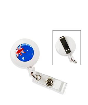 Flag badge reel | Australian flag badge reel with vinyl strap and belt clip