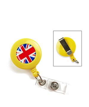 Flag badge reel | British flag badge reel with vinyl strap and belt clip
