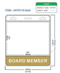 HHT0110 BOARD MEMBER title badge holder is a single pocket of horizontal badge holder.