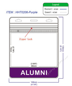 HHT0206 ALUMNI title badge holder is a single pocket of horizontal badge holder.