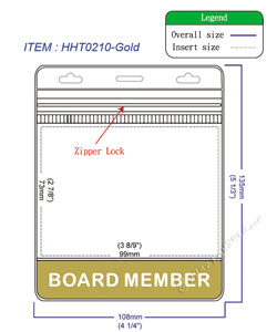 HHT0210 BOARD MEMBER title badge holder is a single pocket of horizontal badge holder.