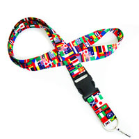 The International flag pattern is printed on the strap of LHD8001 International flag lanyard.