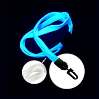 White UV Reactive breakaway lanyard with hook