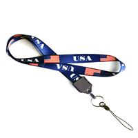 Pre-printed full color American Flag  lanyard with split ring and cell phone loop.
