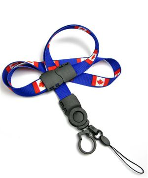 The single color Canada flag lanyard with cellphone keeper and key ring.