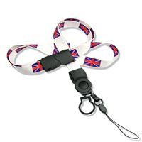 The single color United Kingdom flag lanyard with cellphone keeper and key ring.