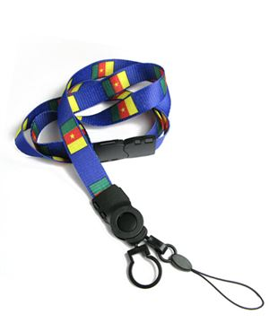 The single color Cameroon flag lanyard with cellphone keeper and key ring.