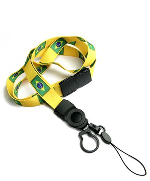The single color Brazil flag lanyards with cellphone keepers and key rings.