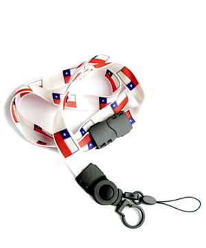 The single color Chile flag lanyard with cellphone keeper and key ring.