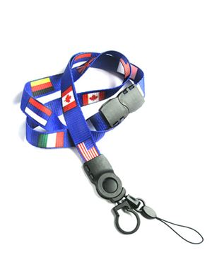 The single color G8 flag lanyard with cellphone keeper and key ring.