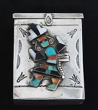 ZUNI/NAVAJO INLAID RAINBOWMAN CIGARETTE BOX
