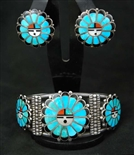 RARE FRANK VACIT SUNFACE BRACELET AND EARRINGS