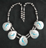 BEAUTIFUL GIBSON MONTANO INLAID BLUE JAY NECKLACE