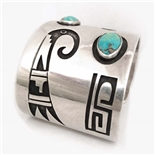 NORMAN HONIE SR. HOPI TURQUOISE OVERLAY CUFF