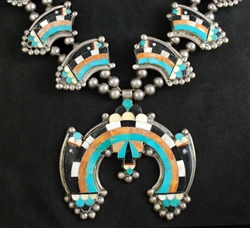 STUNNING EARLY ZUNI RAINBOW/CLOUD INLAY NECKLACE