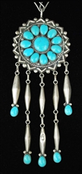 LEE AND MARY WEEBOTHEE TURQUOISE CLUSTER PENDANT