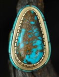 DON JUAN JOHNSON MORENCI TURQUOISE 14K GOLD RING