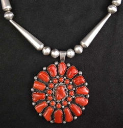BEAUTIFUL MARY MARIE YAZZIE CORAL CLUSTER NECKLACE