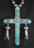 VINTAGE PUEBLO TURQUOISE CROSS NECKLACE