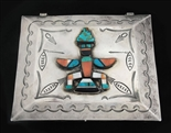 LARGE ZUNI/NAVAJO INLAID KNIFEWING SILVER BOX