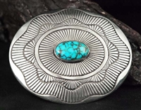 LEE YAZZIE LONE MOUNTAIN TURQUOISE BELT BUCKLE