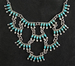 ZUNI PETIT POINT WATERFALL TURQUOISE NECKLACE