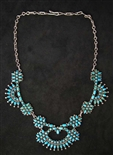 LOVELY PETIT POINT TURQUOISE ZUNI NECKLACE