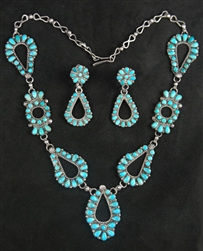 PETIT POINT TURQUOISE ZUNI COLLAR AND EARRINGS