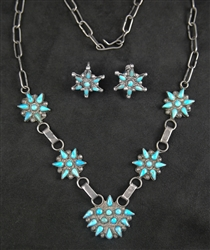 ZUNI PETIT POINT TURQUOISE NECKLACE AND EARRINGS